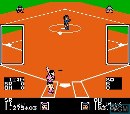 In-game screen of the game I Love Softball on Nintendo NES