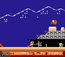 In-game screen of the game Kaiketsu Yanchamaru 2 - Karakuri Land on Nintendo NES