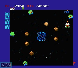 In-game screen of the game Warpman on Nintendo NES