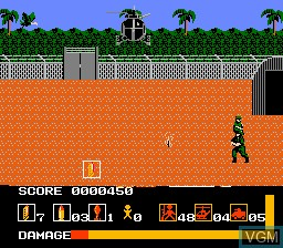 In-game screen of the game Operation Wolf on Nintendo NES
