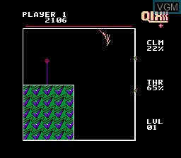 In-game screen of the game Qix on Nintendo NES