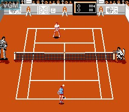 In-game screen of the game Rackets & Rivals on Nintendo NES