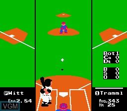 In-game screen of the game R.B.I. Baseball on Nintendo NES