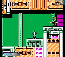 In-game screen of the game Rocman X on Nintendo NES