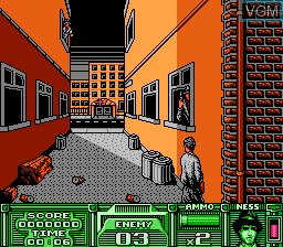 In-game screen of the game Untouchables, The on Nintendo NES