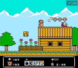 In-game screen of the game Wacky Races on Nintendo NES