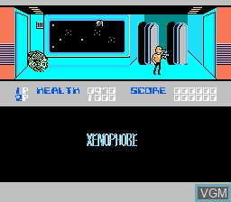 In-game screen of the game Xenophobe on Nintendo NES