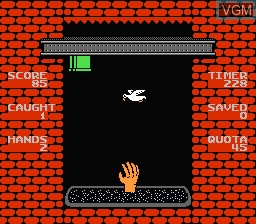 In-game screen of the game Free Fall on Nintendo NES