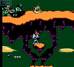 In-game screen of the game EarthWorm Jim 2 on Nintendo NES