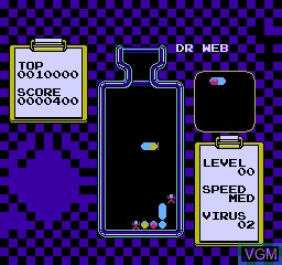In-game screen of the game Dr Web 2 on Nintendo NES