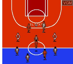 In-game screen of the game All-Pro Basketball on Nintendo NES