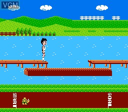 In-game screen of the game Athletic World on Nintendo NES