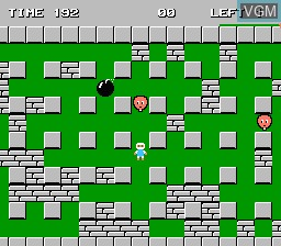 In-game screen of the game Bomberman on Nintendo NES