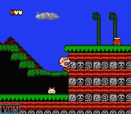 In-game screen of the game Bonk's Adventure on Nintendo NES