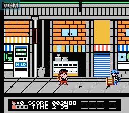 In-game screen of the game Daiku no Gen San 2 - Akage no Dan no Gyakushuu on Nintendo NES