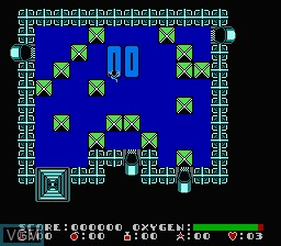 In-game screen of the game Dash Galaxy in the Alien Asylum on Nintendo NES