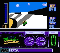 In-game screen of the game Days of Thunder on Nintendo NES