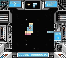 In-game screen of the game Deblock on Nintendo NES