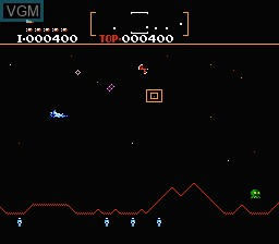 In-game screen of the game Defender II on Nintendo NES