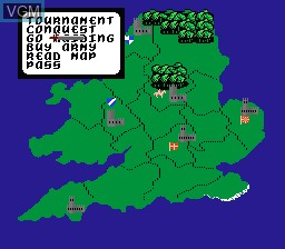 In-game screen of the game Defender of the Crown on Nintendo NES