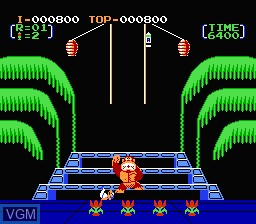 In-game screen of the game Donkey Kong 3 on Nintendo NES