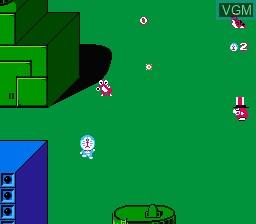 In-game screen of the game Doraemon on Nintendo NES
