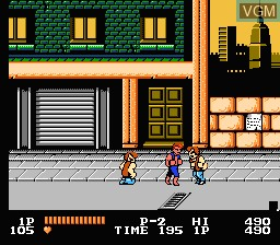 In-game screen of the game Double Dragon on Nintendo NES