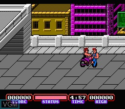 In-game screen of the game Double Dragon IV on Nintendo NES