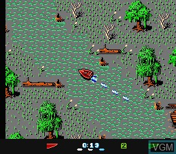 In-game screen of the game Eliminator Boat Duel on Nintendo NES