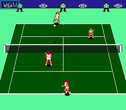 In-game screen of the game Top Players' Tennis - Featuring Chris Evert & Ivan Lendl on Nintendo NES