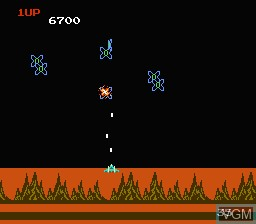In-game screen of the game Exerion on Nintendo NES