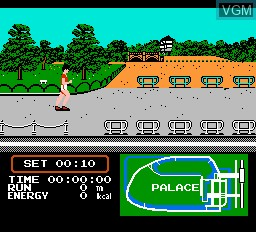 In-game screen of the game Family Trainer 4 - Jogging Race on Nintendo NES