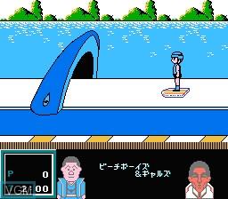 In-game screen of the game Family Trainer 8 - Totsugeki! Fuuun Takeshi Jou on Nintendo NES