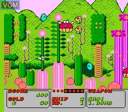 In-game screen of the game Fantasy Zone on Nintendo NES