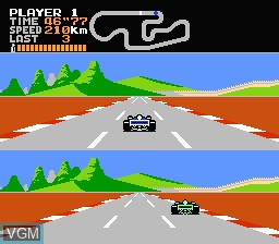 In-game screen of the game Final Lap on Nintendo NES
