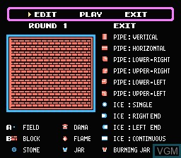 In-game screen of the game Fire 'n Ice on Nintendo NES
