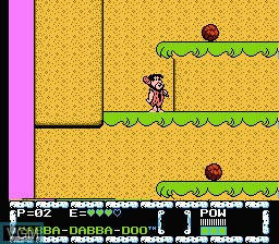In-game screen of the game Flintstones, The - The Surprise at Dinosaur Peak! on Nintendo NES