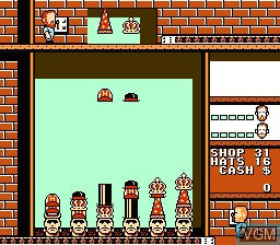 In-game screen of the game Hatris on Nintendo NES