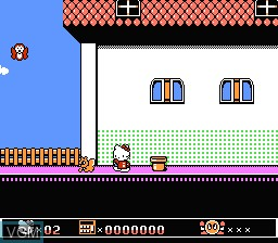 In-game screen of the game Hello Kitty no Ohanabatake on Nintendo NES