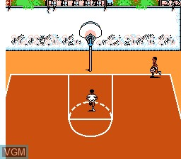In-game screen of the game Hoops on Nintendo NES