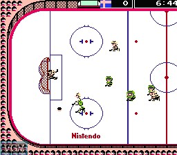 In-game screen of the game Ice Hockey on Nintendo NES