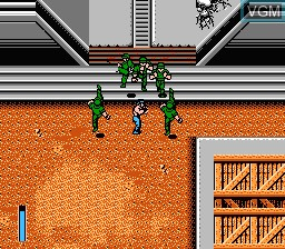 In-game screen of the game Ikari III - The Rescue on Nintendo NES