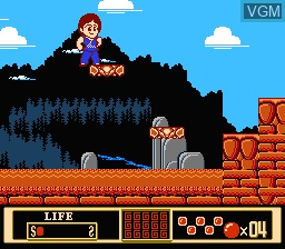 In-game screen of the game Jackie Chan's Action Kung Fu on Nintendo NES