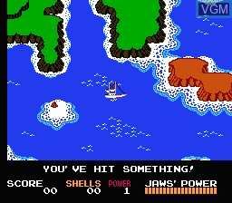 In-game screen of the game Jaws on Nintendo NES