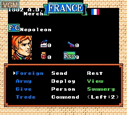 In-game screen of the game L'Empereur on Nintendo NES