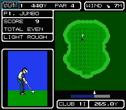 In-game screen of the game Lee Trevino's Fighting Golf on Nintendo NES