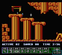 In-game screen of the game Lemmings on Nintendo NES