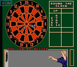In-game screen of the game Magic Darts on Nintendo NES