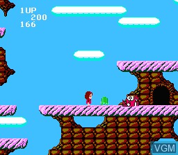 In-game screen of the game Miracle Ropit's Adventure in 2100 on Nintendo NES