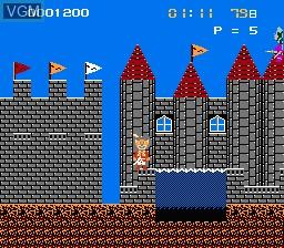In-game screen of the game Nagagutsu wo Haita Neko - Sekai Isshuu 80 Nichi Daibouken on Nintendo NES